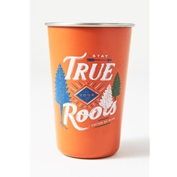 "United By Blue Stay True 16Oz Stainless Steel Tumbler är en tumbler i rostfritt stål med texten ""stay true to your roots""."
