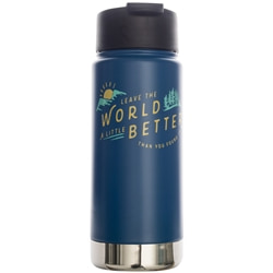 "United By Blue Found 16Oz Travel Bottle är en snygg termosflaska i rostfritt stål med citatet ""leave the world a little better than you found it"""