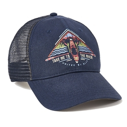 United By Blue To The River Trucker Hat är en truckerkeps med baksida i mesh och handritad design.